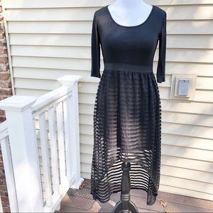 3/4 Sleeve Sheer Stripe High Low Maxi